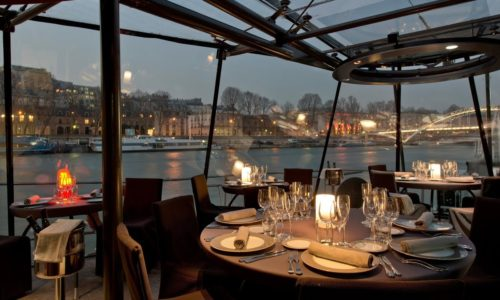 Seine dinner cruise, 3 course dinner including wine & drinks, Paris hotel pick up & return with English speaking driver